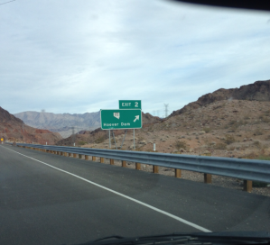 Driving to the Hoover dam.